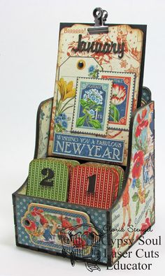 Scraps of Life - Gypsy Soul Laser Cuts calendar box and Graphic 45 Children's Hour paper