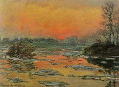 Claude Monet - Sunset on the Seine in Winter