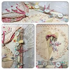 sweet altered textile art, assemblage, tag, envelope, vintage, hearts, flowers, MOP buttons…a work in progress by needletraditions :)