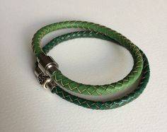 Green Braided Leather Bracelet Magnet Clasp, Green  Braided Leather Bracelet, Unisex Bracelet, Men's Bracelet, Women's Bracelet
