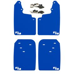 Toyota Tacoma Mud Flaps by RokBlokz - Fits 2016+ Model Years - Multiple Colors Available - Set of 4 - Includes Hardware and Detailed Instructions (Extra Large, Deep Blue with White Logo)