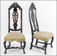 A PAIR OF JACOBEAN REVIVAL STYLE HIGHBACK SIDE CHAIRS. : Lot 149-1058