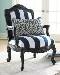 navy white stripe chair