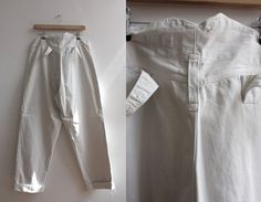 Vintage 1900s Mens White Cotton Trousers Chinos by WaysideFlower