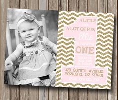 ONE Pink Gold Chevron Royal First Birthday Party Invitation - Personalized - Digital You Print File - You Print