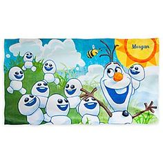 Disney Olaf Beach Towel - Personalizable | Disney StoreOlaf Beach Towel - Personalizable - Soft as can be with plenty of personality, Olaf's all-cotton towel brings a blizzard of <i>Frozen</i> fun to sunny day adventuring.