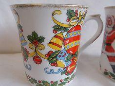 2 Queens Fine Bone China Christmas Mugs Staffordshire & Rosina Made In England. 2