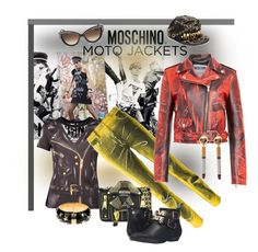"""""""Moto Jackets - Totally Moschino"""" by giovanina-001 ❤ liked on Polyvore featuring Moschino and Love Moschino"""