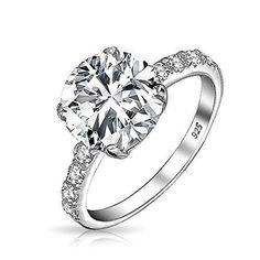 Bling Jewelry Round 3.5ct CZ Solitaire Engagement Ring with Side Stones Sterling Silver
