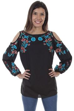 NWT STYLE /& CO Women/'s Top Blouse Embroidered Lace Up Western Style Various Size