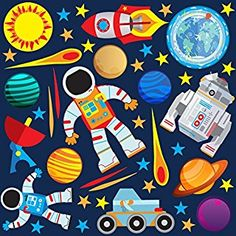 GET STICKING DÉCOR® SPACE WALL STICKERS & ROCKET WALL STICKERS COLLECTION, Return to Earth Rock.6, Glossy Vinyl, Multi Color. (Medium)