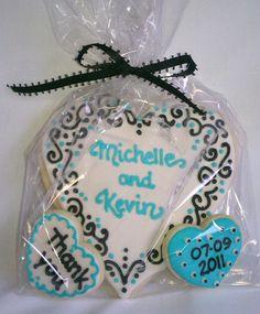 Wedding Cookie Favor Aqua Blue Black & White by MySugarStudios, $6.75