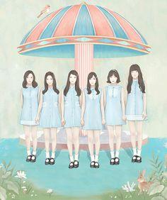 여자친구 (G-Friend) The 1st Album 'LOL' Cover Illustration 2016 / Digital Painting / ⓒ ENSEE - Choi Mi Kyung