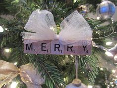 Scrabble Tiles turned into cute ornaments.