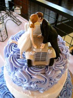 Romantic wedding cake with roses. Purple and white. Paris theme. Car theme. Three tiers.