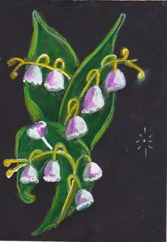 Lily of the Valley, folk art techniques adapted for oil pastels and ink.