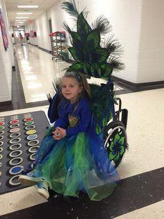 "An original ""Peacock Princess"" costume design for a wheelchair."
