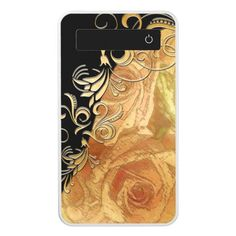 Gilded Pink Rose & Gold Filigree w/ Black Power Bank