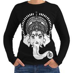 Wellcoda   indisch Kunst Ganesha Hindu- Damen NEU Schwarz Langarmshirts XL