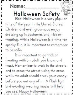 halloween safety reading passage comprehension activities for 2nd grade - Halloween Safety Worksheets