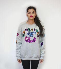 NO UN, NO FUN!  sweatshirt, color, oversize, sequins, fashion, makeup, undecided, unlovers, fun, glitter, design, shiny, club, aliens, spontaneous, irreverent, gold, pink, blue, green, white, purple, unlovers , handmade