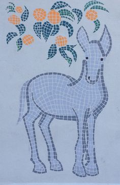 Donkey and Orange Tree - mosaic style painting, work in progress for Graniti Murales