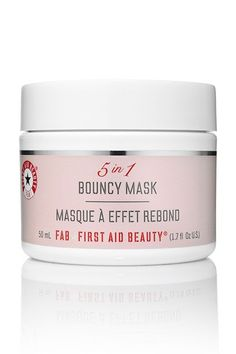 """""""With all the summer parties, festivals, and weddings in our future, this magic-in-a-jar mask is a must — for both before and after the big events. It's basically like getting a mini facial, but only takes 10 minutes. Smooth it on pre-party to get plumped-up, dewy skin, and use it after to combat puffiness, bags, and tired eyes. Oh, why is it called a bouncy mask, you ask? It has this amazing gel-like texture that does not drip a bit."""" — Megan CahnFirst Aid Beauty 5 in 1 Bouncy Mask, $38…"""