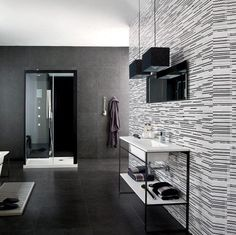 Tile Bathroom, Wall Tile Design Bathroom Tile Panels Black Floor Tile And Zebra Design Screen Wall Decoration With Black Pendant Lamp And White Table Rack Shower Room With Glamour Interior And Comfort ~ Bathroom Wall Tile Panels With Fabulous Interior