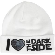 Star Wars I (Heart) The Dark Side Watchman Beanie Hot Topic ($15) ❤ liked on Polyvore featuring accessories, hats, beanie cap, beanie cap hat, heart hat and beanie hats