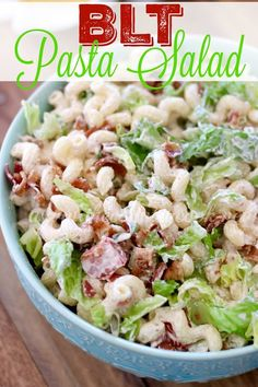 Corkscrew pasta with a creamy dressing and full of crunchy bacon, lettuce and tomato. The perfect pasta recipe! Everyone raves about this salad!