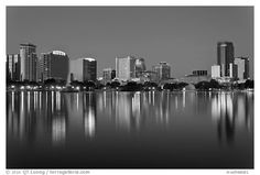 Orlando Skyline at night. Orlando, Florida, USA (black and white)