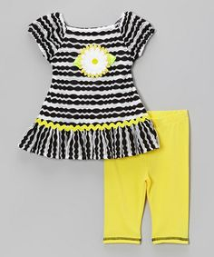 Love this Yellow & Black Stripe Daisy Dress & Leggings - Toddler & Girls by Sweet Heart Rose on #zulily! #zulilyfinds
