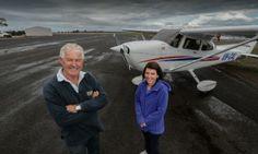 FLYING HIGH: Gary Baum and Sharon Richards on the new tarmac at Lethbridge Airpark. Photo: REG RYAN
