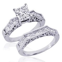 Amazon.com: 2 Ct Princess Cut Diamond Wedding Rings Channel-Set 14k SI2 Vintage: Fascinating Diamonds: Jewelry
