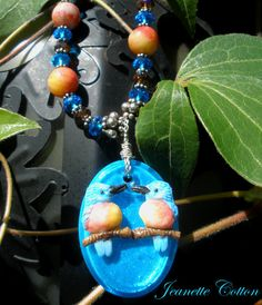Too Tweet For Words Blues & Peaches In This Charming Blue Bird Pendant Necklace! by jeantasia, 85.00