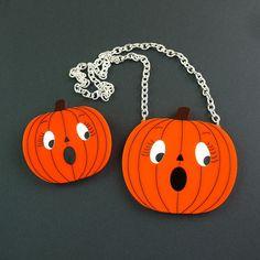 Scared Pumpkin Halloween Brooch Novelty Brooch by YouMakeMeDesign