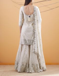 Ivory Chanderi and Net Mirror Embroidered Kurta Set Pakistani Dresses Casual, Indian Fashion Dresses, Dress Indian Style, Indian Gowns, Pakistani Dress Design, Indian Designer Outfits, Indian Outfits, Indian Wear, Sharara Designs