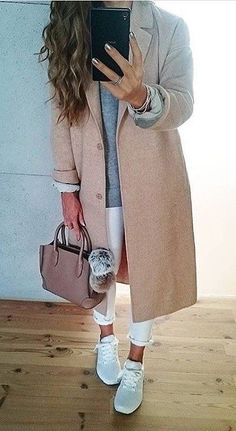 Light Pink Coat // Grey Knit // White Jeans // Grey Sneakers                                                                             Source