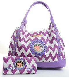 Purple Chevron Print Betty Boop Faux Leather Handbag Purse and Wallet Set Betty Boop Purses, Purple Chevron, Betty Boop Pictures, Girls Bags, Fashion Bags, Women's Fashion, My Bags, Purses And Handbags, Avon