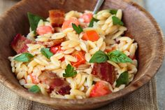 Bacon Tomato Pasta Salad is a quick and easy dinner. Just for two! (Make vegetarian/higher protein with TVP bacon bits)