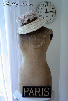 ....dress form topped with a hat.... and what a lovely wonderful vintage hat it is...