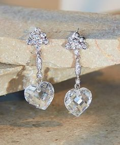 Look at this #zulilyfind! Cubic Zirconia & Sterling Silver Heart Drop Earrings #zulilyfinds