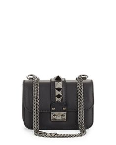Valentino Lock Half-Flap Small Shoulder Bag, black $2075 (03/12/2016)| Neiman Marcus