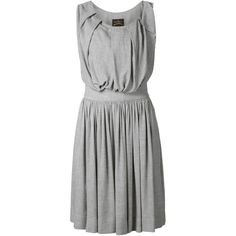 Vivienne Westwood Anglomania  'Gardner' pleated dress ($600) ❤ liked on Polyvore featuring dresses, grey, grey pleated dress, vivienne westwood anglomania, pleated dress, gray dress and vivienne westwood anglomania dress