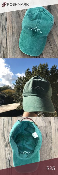 • Classic Green Mountain Hat • Green hat with mountain embroidery. I purchased this made-to-order from Etsy. Never worn Accessories Hats