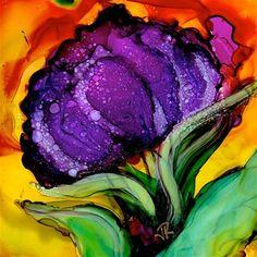 """Flower Power No. 8"" - Original Fine Art for Sale - © June Rollins"