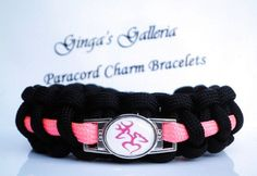 Black Neon Pink BROWNING BUCK and Doe Heart Theme Paracord Bracelet | gingasgalleria - Jewelry on ArtFire