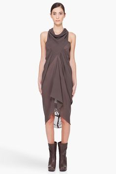 RICK OWENS Dark Grey Silk Drape Dress