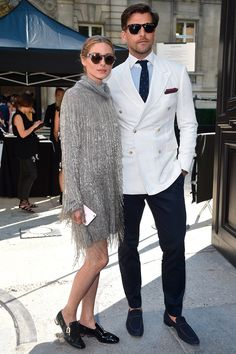 Olivia Palermo and Johannes Huebl looked stylish for the catwalk show.