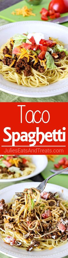 Taco Spaghetti - A fun, new way to enjoy Taco Tuesday! Taco spaghetti is an easy weeknight meal that is perfect for the whole family! Enjoy this easy recipe for Dinner tonight! ~ http://www.julieseatsandtreats.com